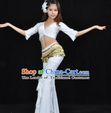 Indian Traditional Belly Dance White Uniform Asian India Oriental Dance Costume for Women