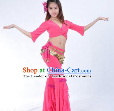 Indian Traditional Belly Dance Rosy Uniform Asian India Oriental Dance Costume for Women
