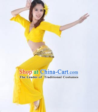 Indian Traditional Belly Dance Yellow Uniform Asian India Oriental Dance Costume for Women