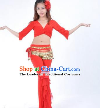 Indian Traditional Belly Dance Red Uniform Asian India Oriental Dance Costume for Women