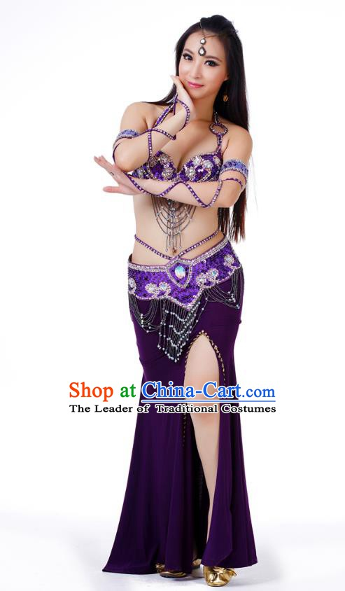 Indian Traditional Belly Dance Purple Dress Asian India Sexy Oriental Dance Costume for Women