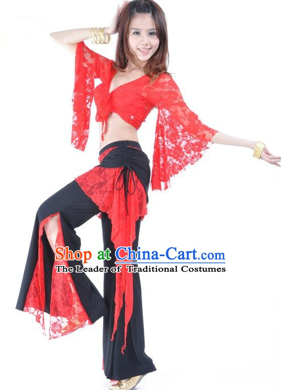 Indian Traditional Belly Dance Red Lace Clothing Asian India Oriental Dance Costume for Women