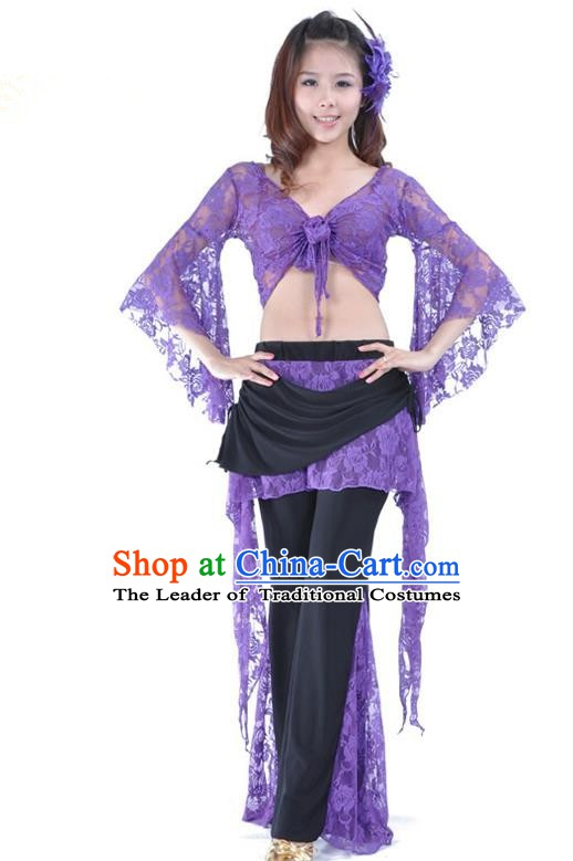 Indian Traditional Belly Dance Purple Lace Clothing Asian India Oriental Dance Costume for Women