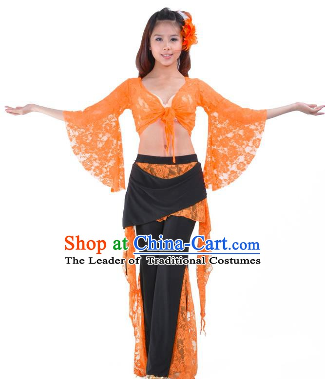 Indian Traditional Belly Dance Orange Lace Clothing Asian India Oriental Dance Costume for Women
