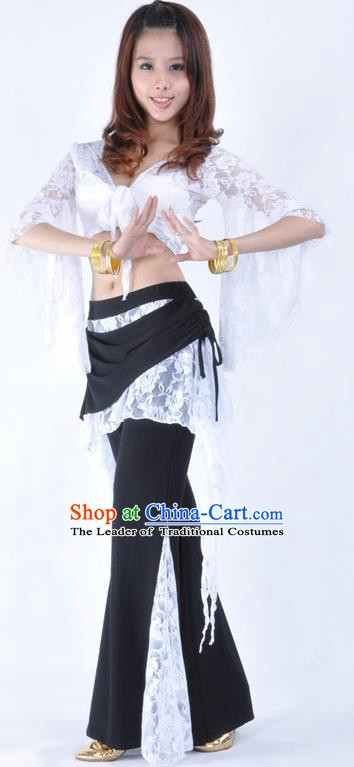 Indian Traditional Belly Dance White Lace Clothing Asian India Oriental Dance Costume for Women