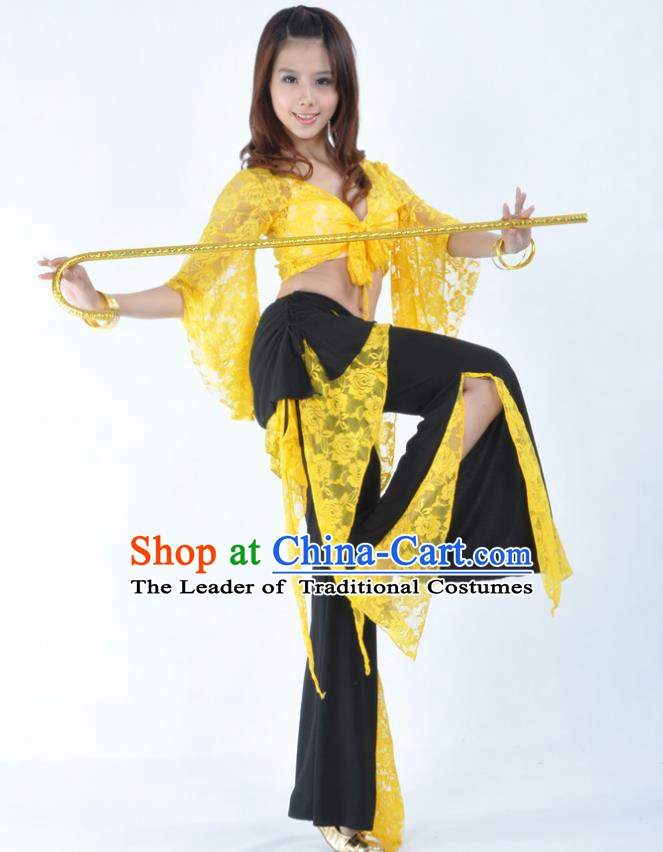 Indian Traditional Belly Dance Yellow Lace Clothing Asian India Oriental Dance Costume for Women