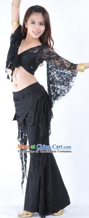 Indian Traditional Belly Dance Black Lace Clothing Asian India Oriental Dance Costume for Women
