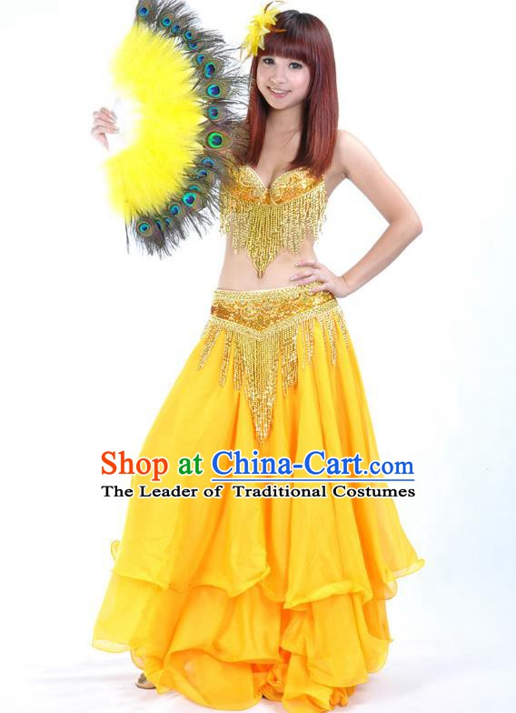 Indian Sexy Belly Dance Yellow Dress Clothing Asian India Oriental Dance Costume for Women