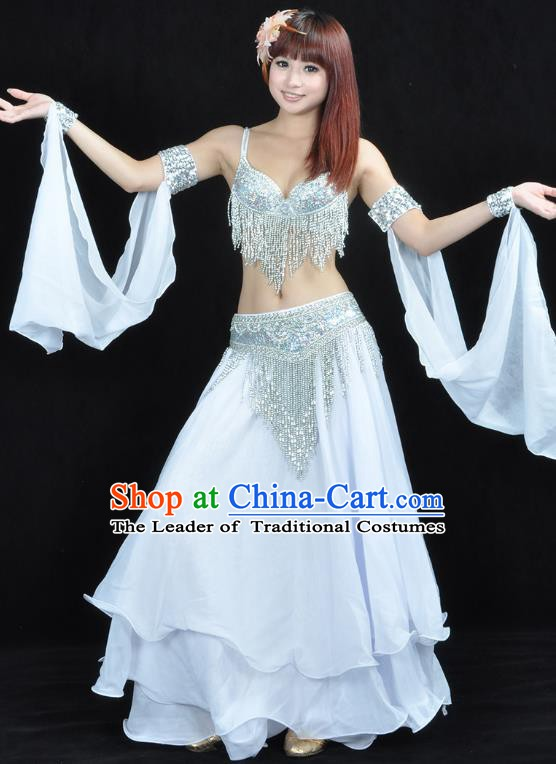 Indian Sexy Belly Dance White Dress Clothing Asian India Oriental Dance Costume for Women