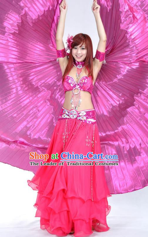 Indian Bollywood Belly Dance Rosy Dress Clothing Asian India Oriental Dance Costume for Women