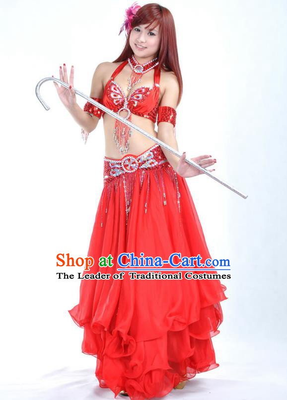 Indian Bollywood Belly Dance Red Dress Clothing Asian India Oriental Dance Costume for Women