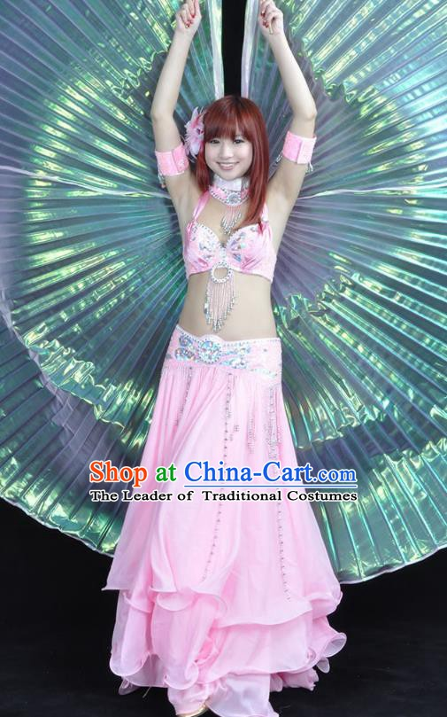 Indian Bollywood Belly Dance Pink Dress Clothing Asian India Oriental Dance Costume for Women