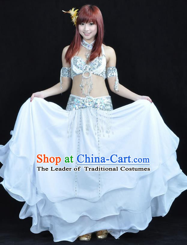 Indian Bollywood Belly Dance White Dress Clothing Asian India Oriental Dance Costume for Women