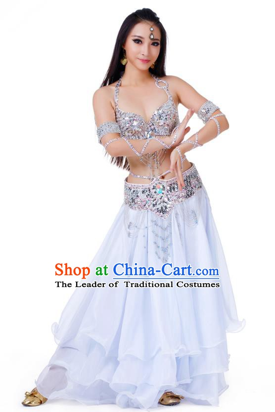 Indian Traditional Belly Dance White Dress Asian India Sexy Oriental Dance Costume for Women