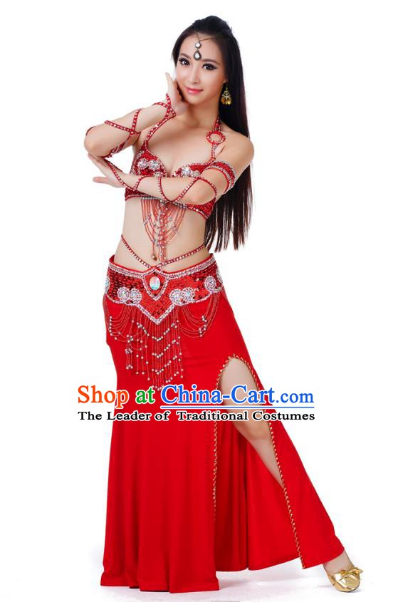 Indian Traditional Belly Dance Red Dress Asian India Sexy Oriental Dance Costume for Women