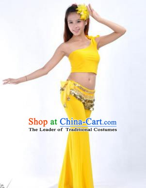 Asian Indian Belly Dance Costume India Oriental Dance Yellow Suits for Women