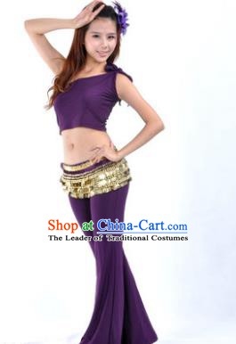 Asian Indian Belly Dance Costume India Oriental Dance Purple Suits for Women