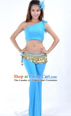 Asian Indian Belly Dance Costume India Oriental Dance Blue Suits for Women