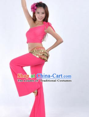 Asian Indian Belly Dance Costume India Oriental Dance Pink Suits for Women