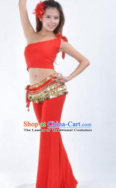 Asian Indian Belly Dance Costume India Oriental Dance Red Suits for Women