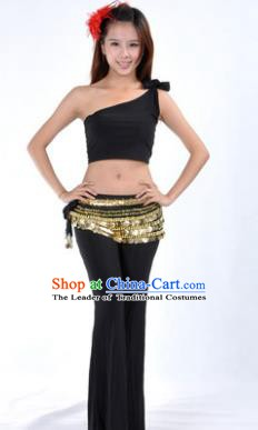 Asian Indian Belly Dance Costume India Oriental Dance Black Suits for Women