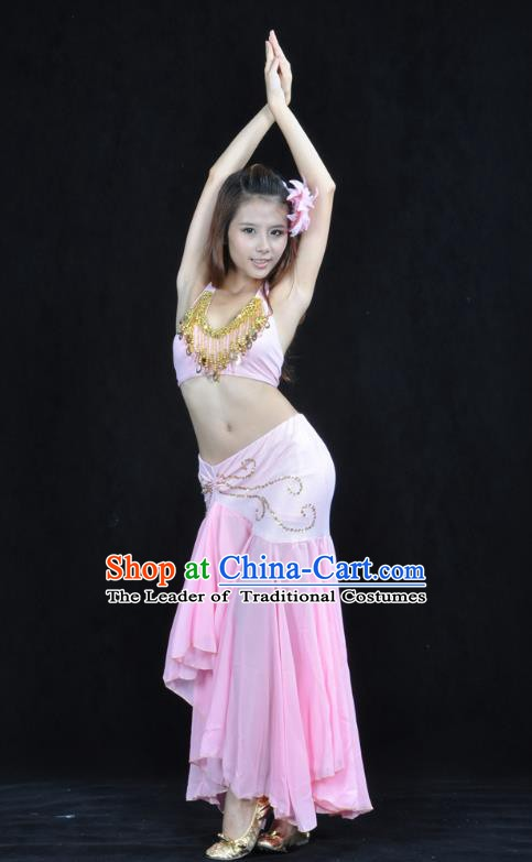 Asian Indian Traditional Belly Dance Costume India Oriental Dance Pink Dress for Women