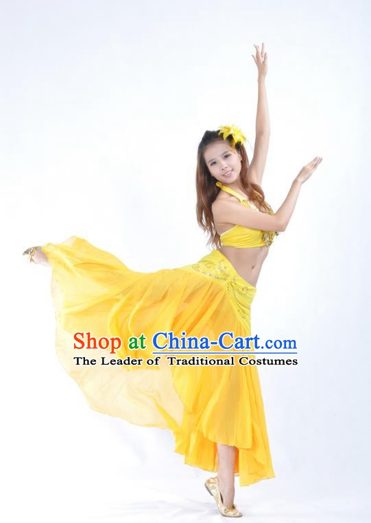 Asian Indian Traditional Belly Dance Costume India Oriental Dance Yellow Dress for Women