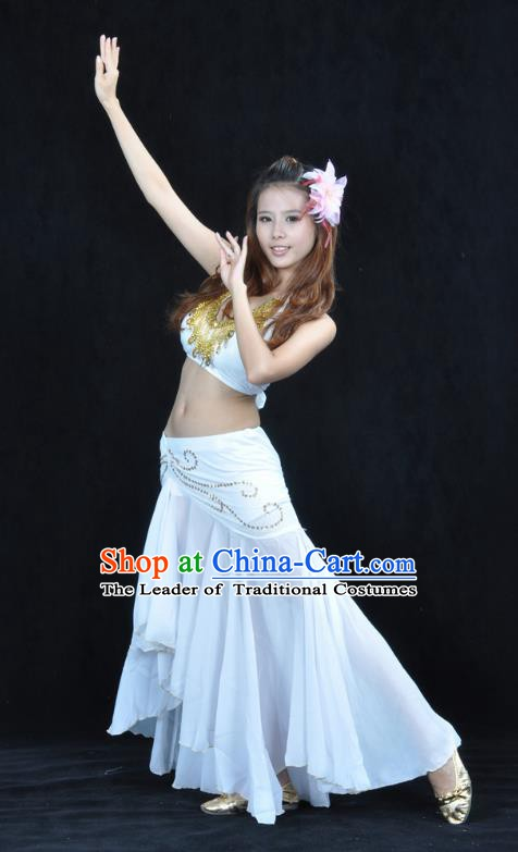 Asian Indian Traditional Belly Dance Costume India Oriental Dance White Dress for Women