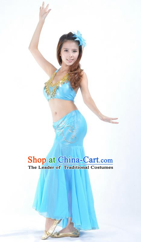 Asian Indian Traditional Belly Dance Costume India Oriental Dance Blue Dress for Women