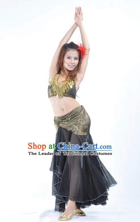 Asian Indian Traditional Belly Dance Costume India Oriental Dance Black Dress for Women