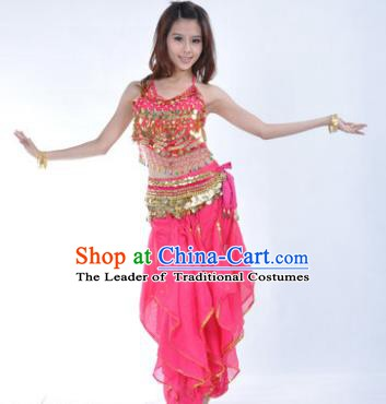 Indian Traditional Belly Dance Costume Asian India Oriental Dance Rosy Clothing for Women