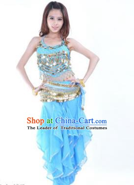 Indian Traditional Belly Dance Costume Asian India Oriental Dance Blue Clothing for Women