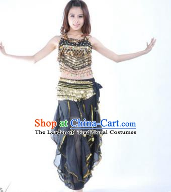 Indian Traditional Belly Dance Costume Asian India Oriental Dance Black Clothing for Women