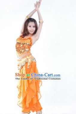 Indian Traditional Belly Dance Costume Asian India Oriental Dance Orange Clothing for Women