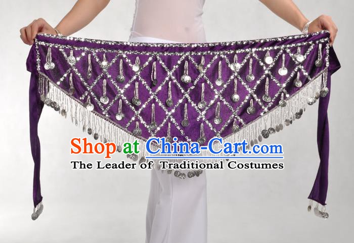 Indian Belly Dance Purple Belts Waistband India Raks Sharki Waist Accessories for Women