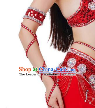 Indian Belly Dance Red Sleevelet India Raks Sharki Accessories Wristlet for Women