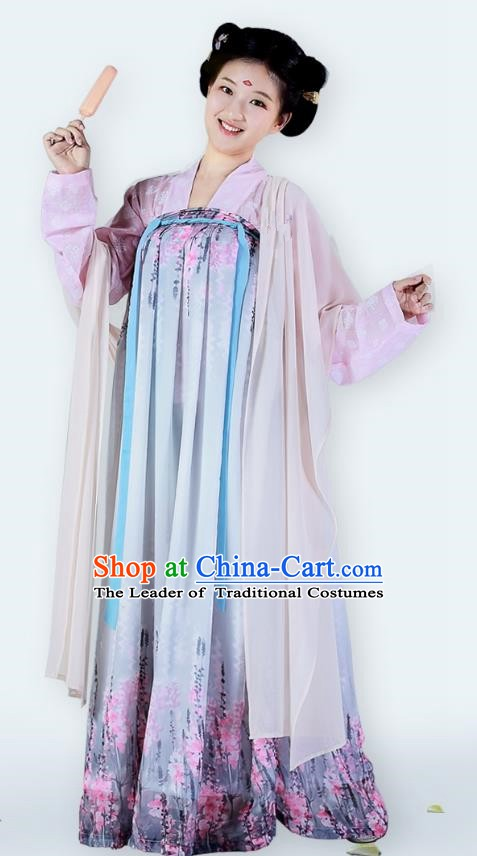 Traditional Chinese Ancient Tang Dynasty Palace Princess Dress Clothing for Women
