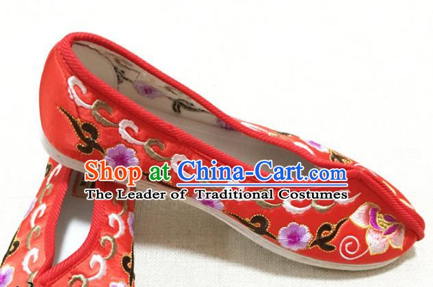 Asian Chinese Shoes Wedding Shoes Princess Shoes, Traditional China Handmade Hanfu Red Embroidered Shoes