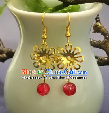 Chinese Handmade Classical Jewelry Accessories Earrings Ancient Palace Lady Red Bead Tassel Eardrop for Women