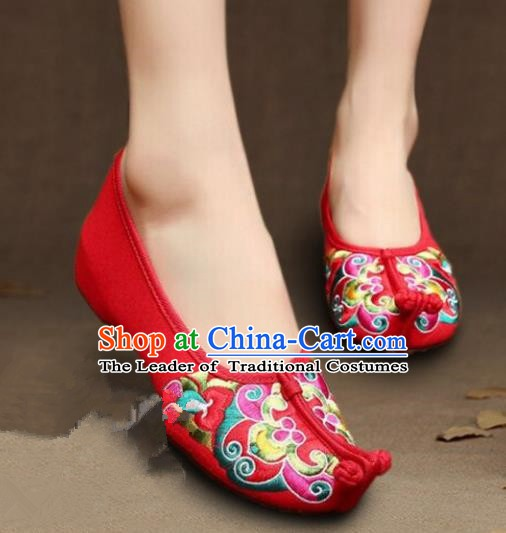 Asian Chinese Wedding Shoes Princess Shoes, Traditional China Handmade Hanfu Red Embroidered Shoes