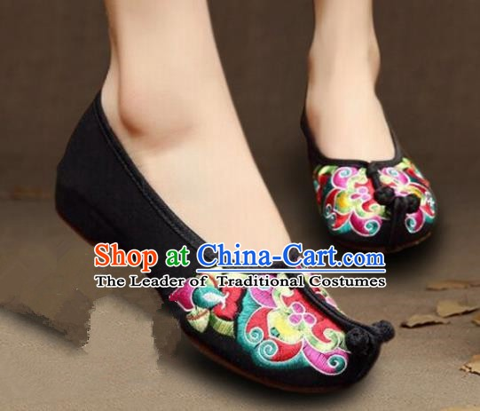 Asian Chinese Wedding Shoes Princess Shoes, Traditional China Handmade Hanfu Black Embroidered Shoes
