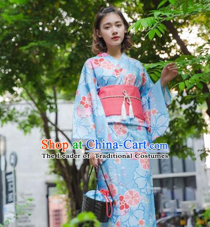Asian Japanese Traditional Costumes Japan Kimono Blue Bathrobe Clothing for Women