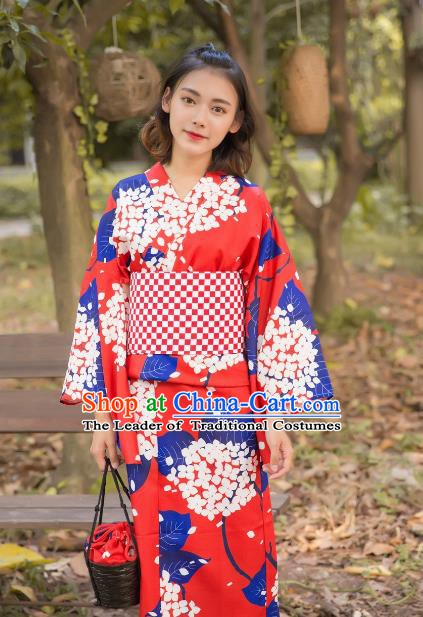 Asian Japanese Traditional Costumes Japan Kimono Red Bathrobe Clothing for Women