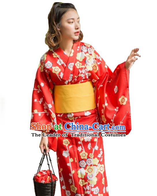 Asian Japanese Traditional Costumes Japan Kimono Red Wedding Clothing for Women
