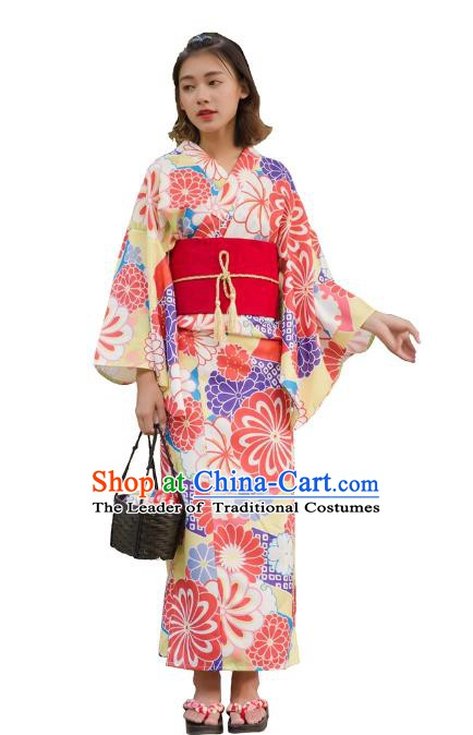 Asian Japanese Traditional Costumes Japan Kimono Printing Bathrobe Clothing for Women