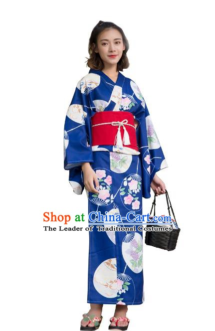 Asian Japanese Traditional Costumes Japan Kimono Printing Deep Blue Bathrobe Clothing for Women