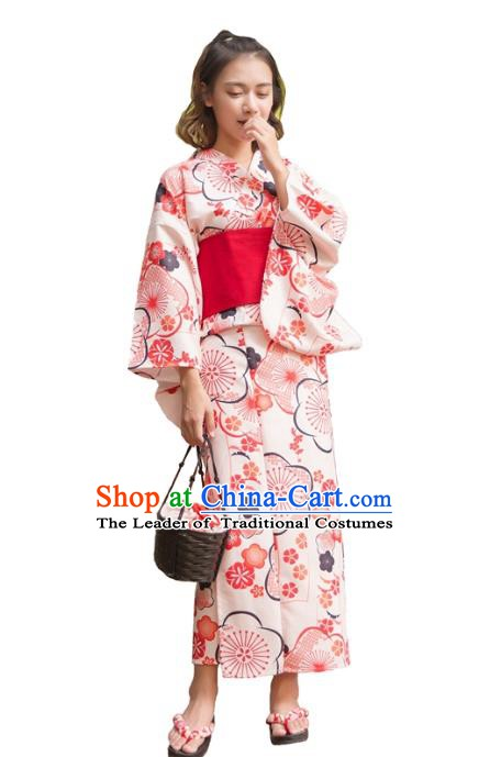 Asian Japanese Traditional Costumes Japan Kimono Printing Pink Bathrobe Clothing for Women