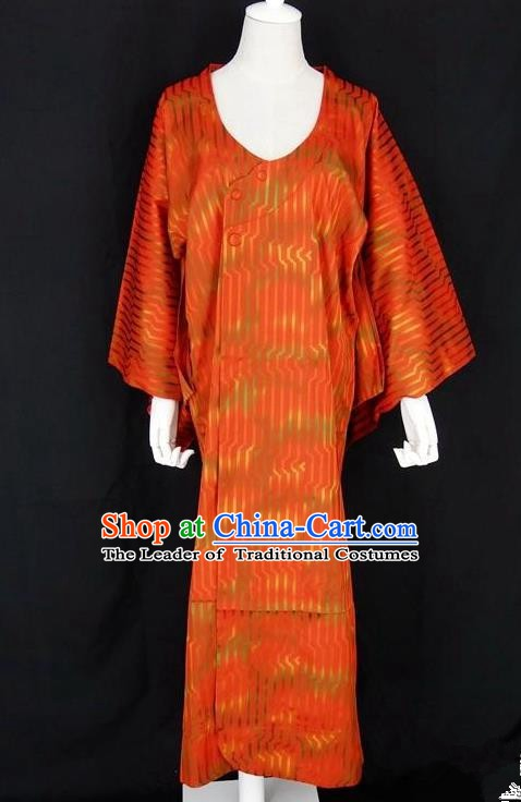 Asian Japanese Traditional Costumes Japan Kimono Orange Bathrobe Clothing for Women