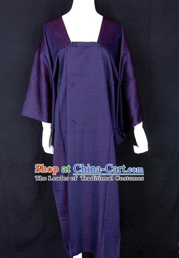 Asian Japanese Traditional Costumes Japan Kimono Purple Bathrobe Clothing for Women