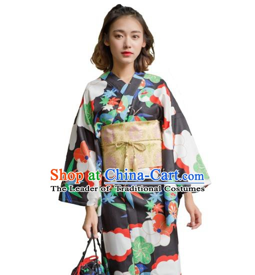 Asian Japanese Traditional Costumes Japan Kimono Yukata Black Clothing for Women